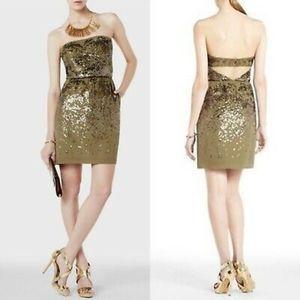 BCBG ATALAYA 100% SILK GOLD SEQUIN DRESS